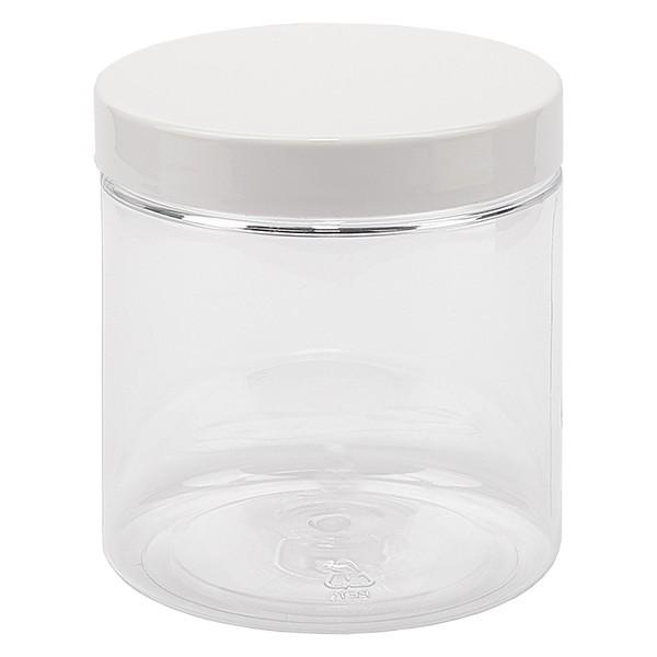 PET pot met schroefdeksel 250 ml helder incl. wit deksel